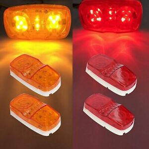 4pcs 10 Diodes Led Trailer Marker Light Double Bullseye Clearance Red amber