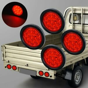 For 4 Inch Red 12 Led Round Stop Turn Tail Truck Light W Grommet Wiring Qty 4