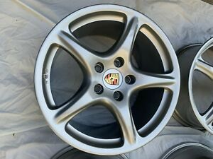 Set Of 4 Staggered Porsche 911 997 Rims Wheels 19 Like New W center Caps
