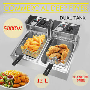 5000w 12l Stainsteel Electric Deep Fryer Dual Tank Commercial Restaurant Kitchen