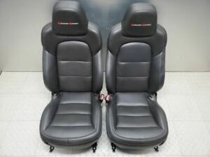 2012 2013 Corvette C6 Seats Black Leather Pair Grand Sport Late Design