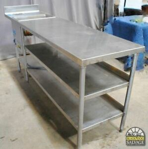 Commercial Grade Custom Stainless Work Table With Warmer And Shelves 92