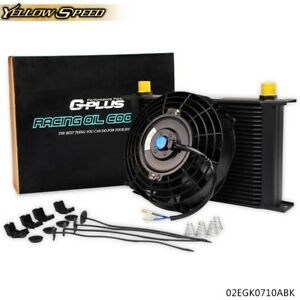 25 Row Universal 10an Engine Transmission Oil Cooler Black 7 Electric Fan Kit