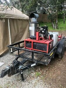 2003 Hotsy Model 1260ssg Hot Water Pressure Washer On Trailer 200 Gallon Tank