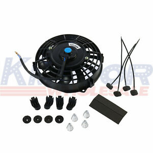 Universal 12v Slim Electric Radiator Cooling Fan Push Pull 7 Inch Mount Kit