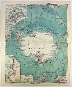 Original 1908 Map Of The South Pole By Meyers Antarctica Vintage