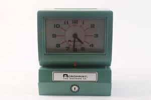 Acroprint 150nr4 Punch Card Time Clock System No Keys Or Accessories Green