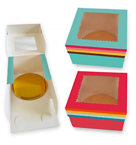 Cookeezz Couture Cake Boxes 12x12x5 Rainbow Design Bakery Boxes With Display