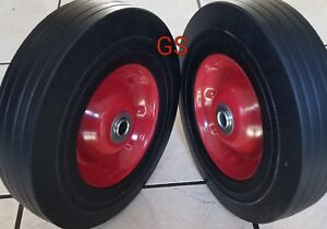 2 10 Solid Tires Wheels Rubber Dolly Handtruck Cart No Flat Free Shipping