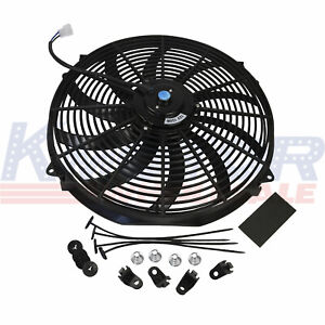 12v 16 Inch Slim Fan Push Pull Electric Radiator Cooling W Mount Kit Universal