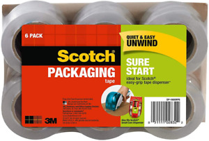 New Scotch Sure Start Shipping Packaging Tape 1 88 X 900 6 Pack dp1000rf6
