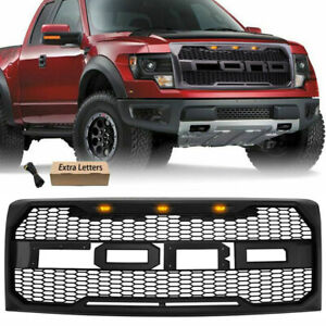 Black Grille Raptor Style Grill For 2009 2014 Ford F150 W Led Lights Letters