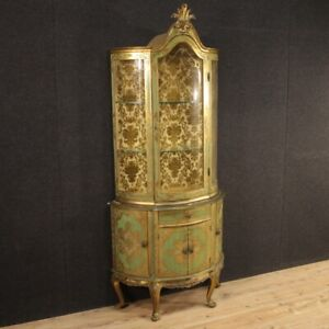 Vitrine In Lacquered And Gilt Wood Antique Style Bookcase Cabinet Furniture 900
