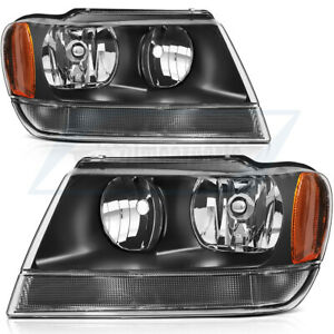 Headlights Assembly For Jeep Grand Cherokee 1999 2004 Front Black Lamps Pair Set