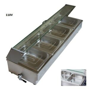 Newest 4 pan Commercial Bain marie Buffet Food Warmer With Transparent Cover Usa