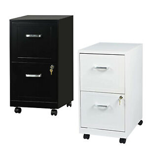 2 Drawer File Cabinet 18 Deep Metal Filing Cabinet With Lock wheels Letter Size