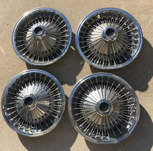 Set Of 4 Oem 1970 78 Dodge Chrysler Plymouth 15 Wire Spoke Hubcaps Wheel Covers