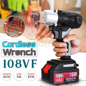 320nm 1 2 Electric Cordless Impact Wrench Drill 12800mah Battery Charger 110v