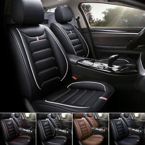 8pc Luxury Leather Car Seat Covers Full Set Universal Interior Cushion Protector