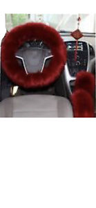 3pcs Car Steering Wheel Cover Furry Fluffy Universal Fur Wool Thick Red