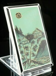 Quality Sterling Silver Enamel Cigarette Case With Japanese Scene Glasgow 1926