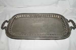 Vintage Leonard Silverplate Rectangular Footed Serving Tray W Handles 24