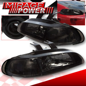 Crystal Headlights Smoked Lens Left right Pair For 92 95 Honda Civic 4 Dr Sedan