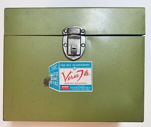 Vtg Versa File Metal Locking File Box With Key Toccoa Products 12 5 X 10 X 5 5