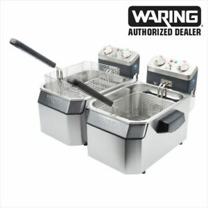 Waring Wdf1000d Double 10 Lb Deep Fryer With Timer 120v 1800w Genuine