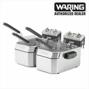 Waring Wdf1550bd Double 15 Lb Deep Fryer With Timer 240v 3840w Genuine