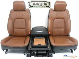 Dodge Ram Longhorn New Oem Brown Leather Front Seats Free Console 2019 2022