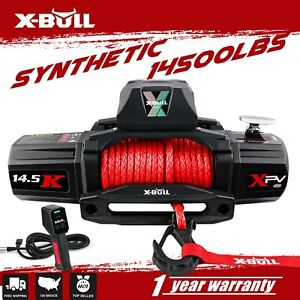 X Bull Electric Winch 14500lbs 12v Synthetic Rope Jeep Towing Truck Off Road 4wd