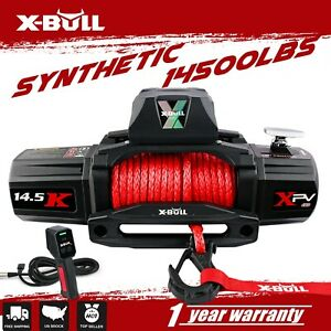 X Bull 14500lbs 12v Electric Winch Synthetic Rope Off Road 4wd Jeep Towing Truck