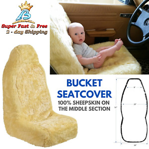 Genuine Sheepskin Seat Cover Champagne Car Driver Seat Covers Universal Bucket