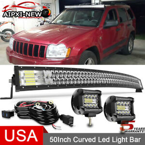 For 1993 1998 Jeep Grand Cherokee Zj Upper Roof 50 Led Light Bar Curved Combo