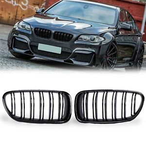 Gloss Black Dual Slat Front Kidney Grille Grill 2010 2016 For Bmw F10 F11 M5