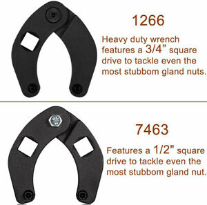 2x Small large Gland Nut Wrench 3 4 spanner Tool Kit For Hydraulic Cylinder 7463