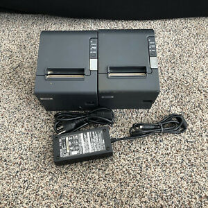 Two Epson M129h Tm t88iv Ethernet Thermal Pos Receipt Printer Tested