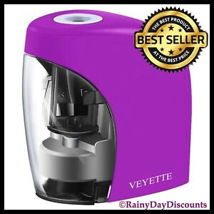 Electric Pencil Sharpener Battery Usb Operated Kids School Office Home Purple