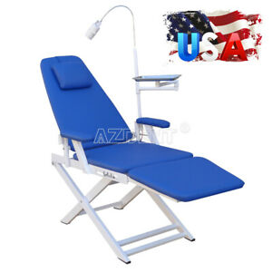 Dental Lab Portable Folding Chair Rechargeable Led Light Blue Examination Chairs