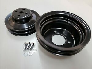 Sbf Small Block Ford 2 Groove Black Steel Pulley Kit 3 Bolt Crank 1964 5 66 V8
