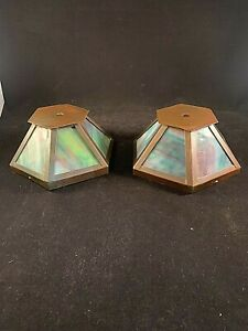 Pair Of Antique Arts And Crafts Stained Slag Glass Shades