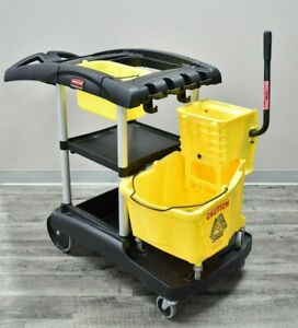 Rubbermaid Janitor Cart Black Plastic Aluminum With Mop Bucket And Wringer