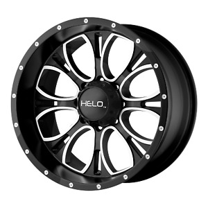 17x9 4 Wheels Rims Helo Black Machined 12mm 5x127