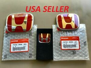 For Civic 4dr Sedan 06 15 Front Rear Steeriing Red Jdm Emblem Si Ex Lx