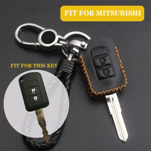 For Mitsubishi Mirage Outlander 2020 Remote Leather Key Fob Cover Shell Keychain