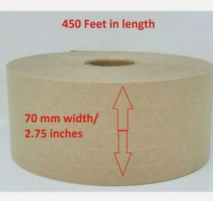 4 70mm Gummed Packing Sealing Tape 3way Reinforced Water Activated 450 Ft