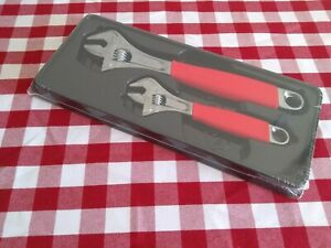 Snap On 2 Piece Flank Drive Plus Adjustable Wrench Set Red Fadh702a New