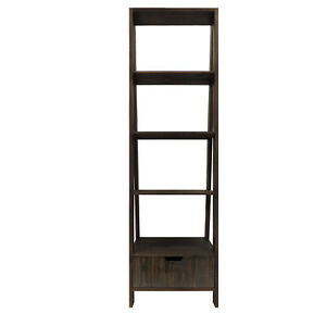 4 Shelf Wooden Ladder Bookcase With Bottom Drawer Distressed Brown