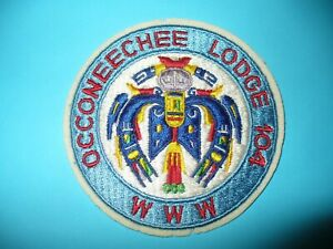 Oa Occoneechee Lodge 104 r6a 1960s Lpr Head T bird Round camp Durant council nc